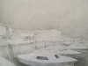 2046 Pencil Drawing The Port,Marseillan,Southern France.16x23 inch.