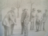 2048 Pencil Drawing,Game of Boules.Marseillan,S.France.