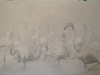 2158 Pencil Drawing Flamingos,S France.23x35 inch.