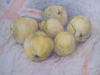Triptych,still life,fruit and vegetables.mixed media.size A3 paper.